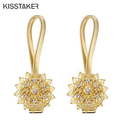 KISSTAKER Magnetic Tieback, Crystal Curtain Holdbacks Blossom Diamond Clips with Stretchy Wire Rope for Home Office Decoration (1 Pair New Flower Gold)