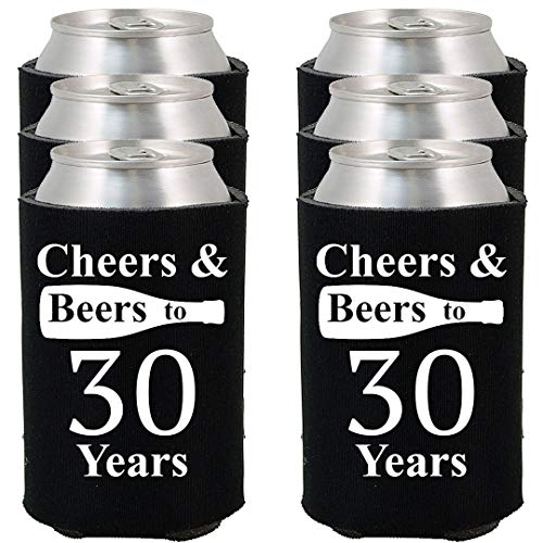 Shop4Ever Cheers & Beers to 30 Years Can Coolie Birthday Drink Coolers Coolies (30 Yrs, Blk, 24 Pk) ()