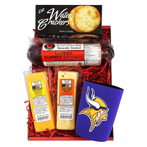Vikings Snacker Gift Basket - features Smoked Summer Sausages, Cheeses, Crackers and a Vikings