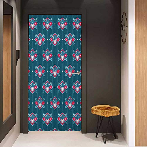 Toilet Door Sticker Sports Modern Baseball Pattern Competing Player Uniform Fun Games Artwork Glass Film for Home Office W17.1 x H78.7 Petrol Blue Hot Pink White