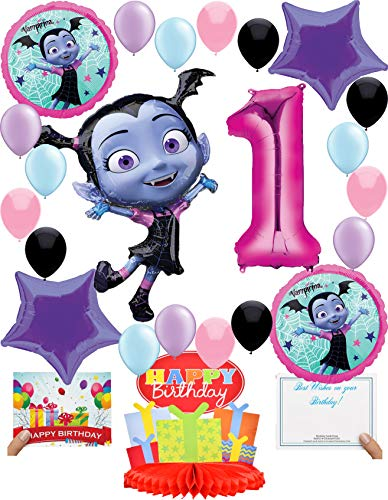 Vampirina Party Supplies (Choose Your Own Age) Birthday Deluxe Balloon Decoration Bundle for (1st Birthday)