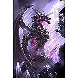 Dinosuar Diamond Painting Kits Square Full Drill Diamond Dotz Kits for Adults (Purple Dragon, 19.6''29.5'')