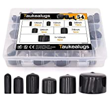 54pcs Black Pipe Post Bolt Screw Rubber Thread Protector Cover Vinyl Tube End Caps,Assorted 1/4-inch to 1 1/2-inch-6 Sizes