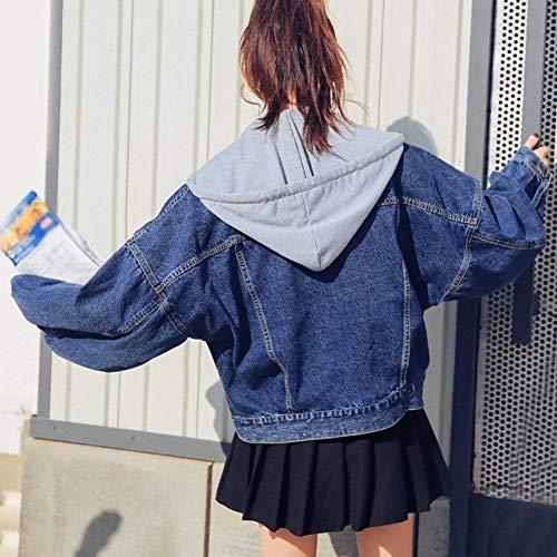 Elegante Giaccone Cappuccio Chic Breasted Blu Manica Sciolto In Con Corto Bavero Cute Outerwear Removibile Lunga Metallo Autunno Jeans Fibbia Donna Giovane Blau Moda Jacket Mantello gq5WOa