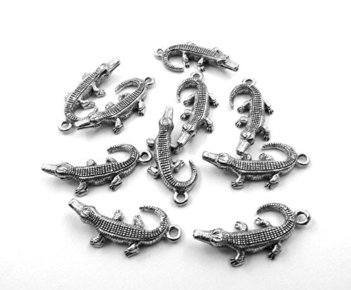 Set of Ten (10) Silver Tone Pewter Alligator Charms