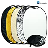 """LimoStudio Photography Photo Studio 24"""" x 36"""" New Handheld 5-in-1 Collapsible Lighting Reflector Oval Panel Board Disc, AGG1488"""