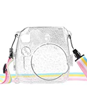 Protective Crystal Case for Fujifilm Instax Mini 8 Mini plus Mini 9 Instant Camera - Crystal Hard PVC Cover with Removable Rainbow Shoulder Strap, Shining Clear