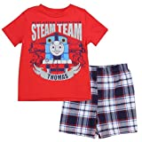 Thomas and Friends Little Boys Toddler 2 Piece Plaid Shorts Set