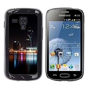 TopCaseStore / la caja del caucho duro de la cubierta de protección de la piel - Night Time Modern City River - Samsung Galaxy S Duos S7562