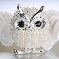 Promsup NEW Big Eye Owl Animal Wedding Bouquet Pearl Brooch Pins Women Fashion Jewellery (Silver)