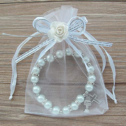 First Holy Communion Favor (12 PCS) Stretch White Pearl Bracelet with Silver Metal Chalice and Cross Charms in Organza Gift Bags with Flowers and Ribbons/Recuerdos para Primera Comunion Niña Niño