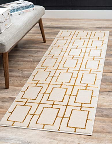 Unique Loom Marilyn Monroe Glam Collection Textured Geometric Trellis White Gold Runner Rug (2' x 6')