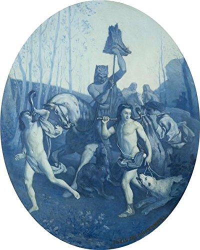 Oil painting ` Pierre Cecile Puvis de Chavannes、Return from the Hunt、CA。1859`印刷ポリエステルキャンバスに、18x 23インチ/ 46x 57cm、最高のギフトは、この高解像度、ホーム装飾、ダイニングルーム装飾アート装飾キャンバスプリントの商品画像