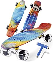 """KMX 22"""" Mini Cruiser Skateboard for Boys Girls and Youth, Complete Beginner Skateboard for Kids Ages"""