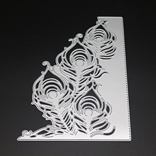 Metal Cutting Dies Stencil Metal Template for DIY Scrapbook Album Paper (Peacock feathers)