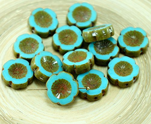 6pcs Rustic Picasso Opaque Turquoise Blue Czech Glass Flat Carved Table Cut Hawaiian Flower Beads Coin (Turquoise Coin Beads)