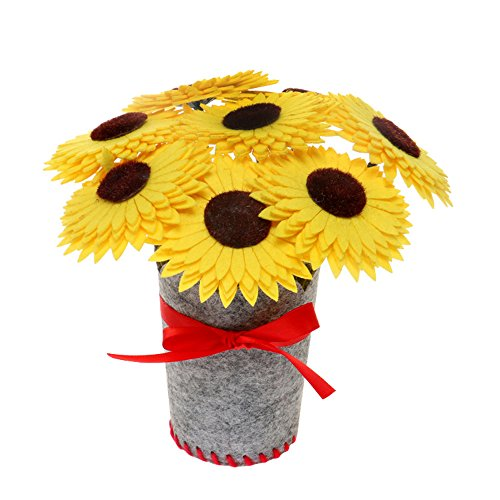 Crafts Kits Felt Fabrics Supplies for Kids - Starter kit with All Parts and Accessories Included - Sewing Project Set - Flowers a Bouquet of Sunflowers for Birthday (Build A Flower Bouquet)