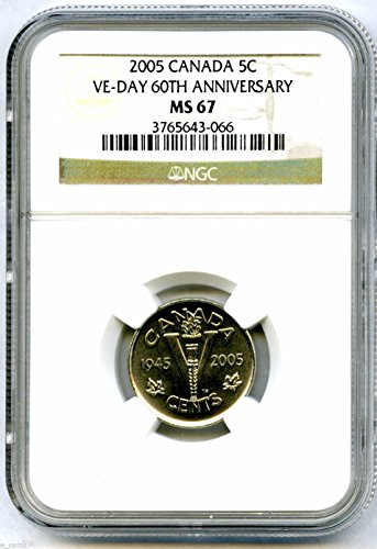 2005 Canada 5 CENT VE-DAY 60TH ANNIVERSARY WWII VICTORY 'V' Nickel MS67 NGC