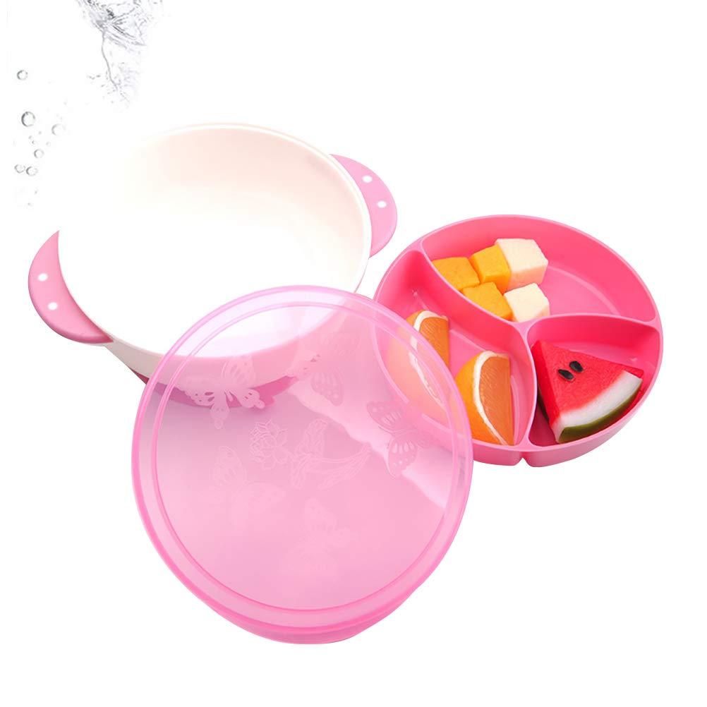 Rose UPKOCH Bol daspiration pour b/éb/é avec Assiettes divis/ées Set antid/érapant pour la Vaisselle pour Enfants