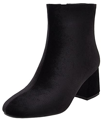 Women's Dressy Splicing Block Medium Heel OL Work Ankle Booties Round Toe Velvet Side Zipper Short Boots