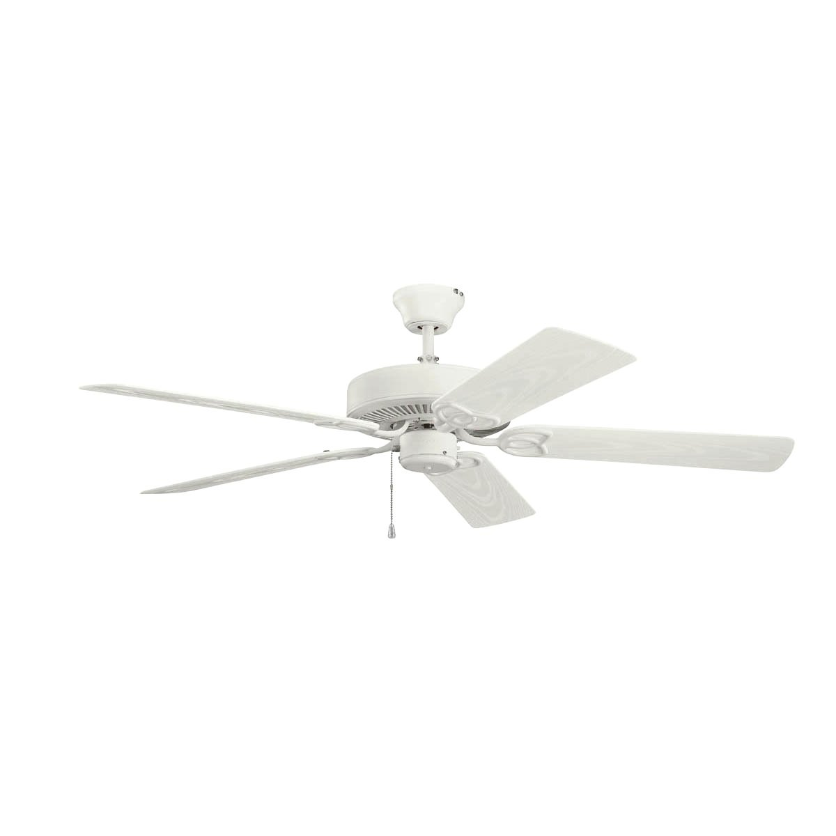 Kichler Lighting 401SNW Basics Patio 52IN 5-Blade Damp-Rated Ceiling Fan, Satin Natural White Finish with Satin Natural White ABS Blades
