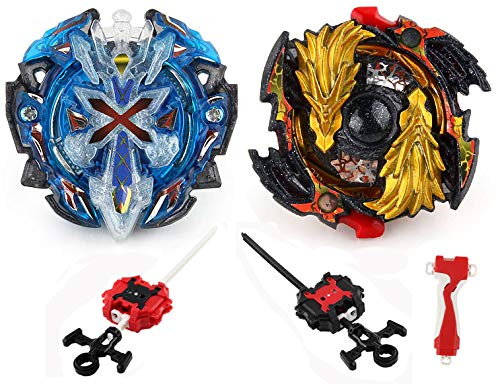 Elfnico Bey Battling Top Burst Evolution Combination 4D Series, 2pcs Speed Gyro Metal, 2 throwers Set with Launcher Blade Set(Upgraded Bey 2 Set)