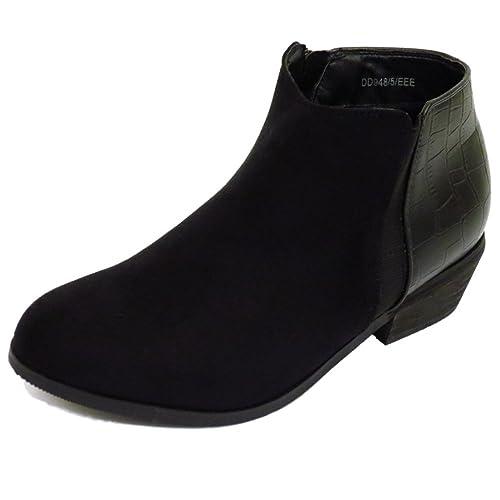 Sin Tacón Color Negro para Dama EEE Corte Ancho Motero Duende con Cremallera Botines UK 4-9 - Negro, 43.5 EU 3E: Amazon.es: Zapatos y complementos