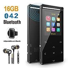 Reproductor MP3 Bluetooth 16GB Música Podómetro Grabador Radio FM Grabación Soporta hasta 128GB