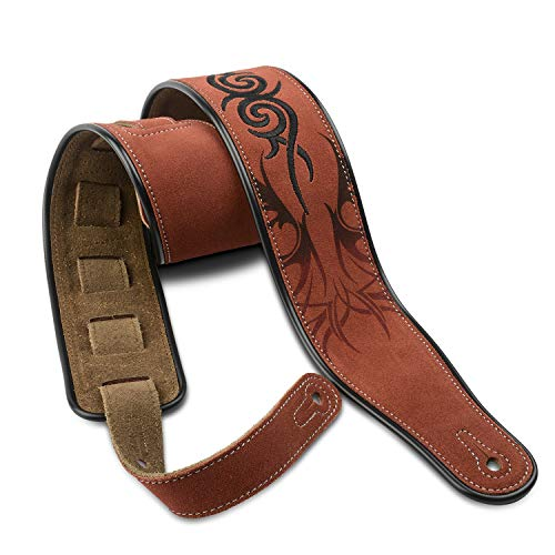 Dulphee Guitar Strap Genuine Suede Leather Embroidery Tribal Pattern Design Shoulder Strap for Bass Guitar Electric Guitar Acoustic Guitar - 2.8 inches Width
