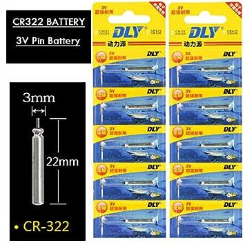 Isun Fishing Store Lote de 10 Pilas CR322 Flotador de Pesca, 3 V, luz
