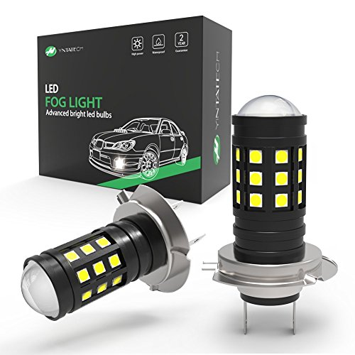 YINTATECH 2pcs H7 LED Fog Light Bulb with Projector 3800 Lumens Extremely Bright 27 SMD 6000K White 12V - 24V for DRL or Fog Lamps