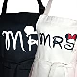 Mr. and Mrs. Aprons Gifts for Bridal Shower,His and Hers Couple Matching Aprons With Pocket, Funny Cooking Bibs for Wedding Marriage Newlyweds(Set of 2 Size) (Mickey)