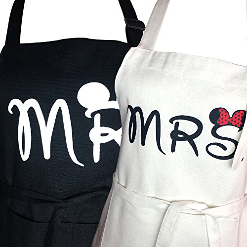 Mr. and Mrs. Aprons Gifts for Bridal Shower,His and Hers Couple Matching Aprons With Pocket, Funny Cooking Bibs for Wedding Marriage Newlyweds(Set of 2 Size) (His Pocket)