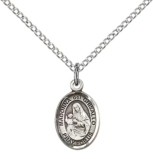 Sterling Silver St. Madonna Del Ghisallo Pendant with 18