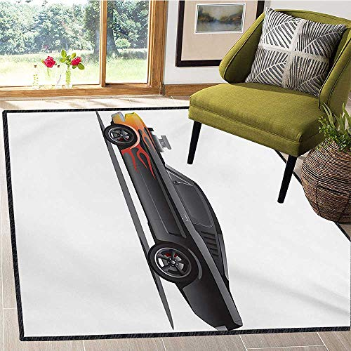 Cars, Door Mats for Inside, Custom Design Muscle Car with Supercharger and Flames Roadster Retro Styled, Floor Mat Pattern 4x6 Ft Charcoal Grey Orange