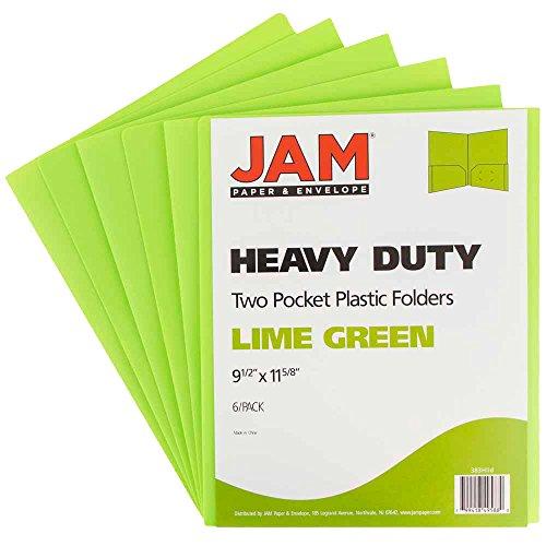 - JAM PAPER Heavy Duty Plastic 2 Pocket School Folders - Lime Green - 6/Pack