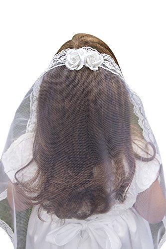 Girls First Communion White Veil Headpiece with Rose Buds ()