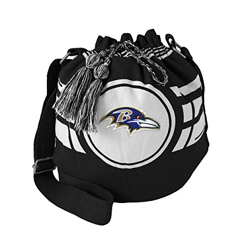 Baltimore Ravens Bucket (NFL Baltimore Ravens Women's Ripple Drawstring Bucket Bag, Black, 12