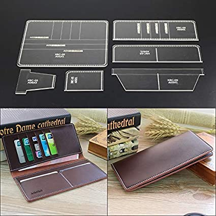 Leather Craft Clear Acrylic LONG Wallet Bag Mould Pattern Stencil Template Set