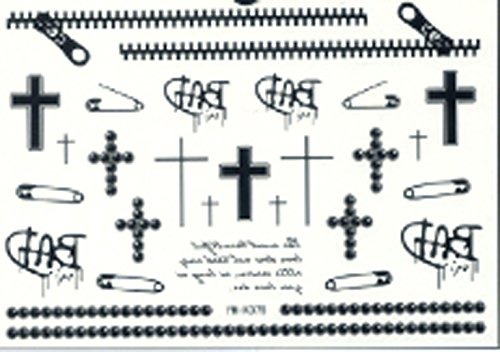 Fashionable and fashionable and waterproof black zipper cross tree temporary (Christian Tattoo)