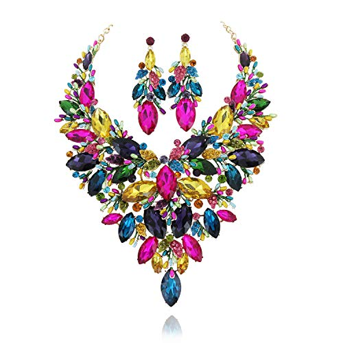 SP Sophia Collection Austrian Crystal Women's Peacock Flair Necklace and Earrings Jewelry Set in Gold Multicolor
