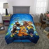 LEGO Movie 2 Kids Bedding - Edredón Reversible de Microfibra Suave, tamaño Individual/matrimonial, 182 x 218 cm, Color Azul