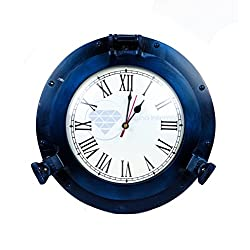 Nautical Porthole Aluminium Blue Color | Maritime Wall Decor | Nagina International (15 Inches, Clock)