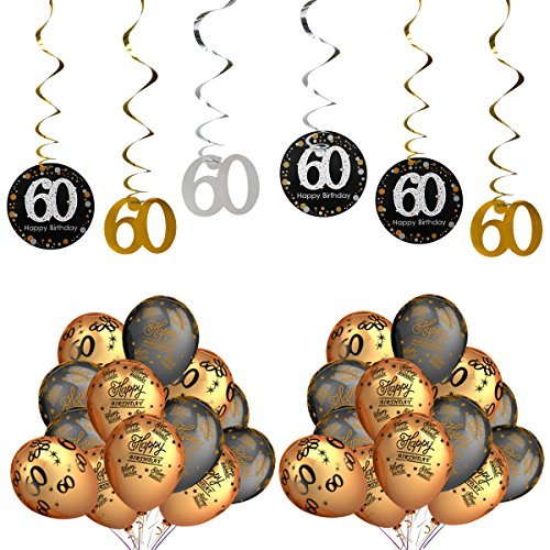 Birthday Anniversary 60th (60th Birthday Party Decorations Kits - Sparkling Celebration 60 Hanging Swirls, Gold and Black Latex 60 Birthday Balloons,Perfect For 60 Years Old Party Supplies 60th Anniversary Decorations)