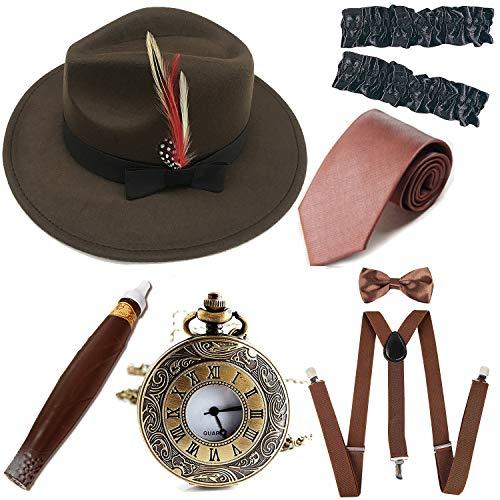 1920s Trilby Manhattan Fedora Hat, Plastic Cigar/Gangster Armbands/Vintage Pocket -