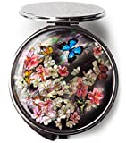 Korean Makeup Compact Mirror Mother of Pearl Metal Apricot Flower Butterfly #55
