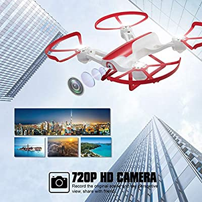 Tech RC Drone with 5.8G LCD Screen Real Time Transmitter, 720P HD Camera Quadcopter FPV Live Video & 4G SD Card with Headless Mode, Altitude Hold, Emergency Stop & Rechargeable Battery from OpenSmart