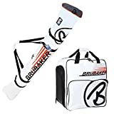 "HENRY BRUBAKER ""Champion"" Combo Ski Boot Bag and Ski Bag for 1 Pair of Ski up to 170 cm, Poles, Boots and Helmet - White Orange"