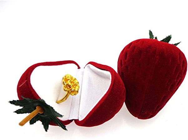 HAHAJY Cajas de Anillos de Regalo con Forma de Fresa en Forma de Fresa roja, Caja de Joyas Cajas, 1: Amazon.es: Hogar