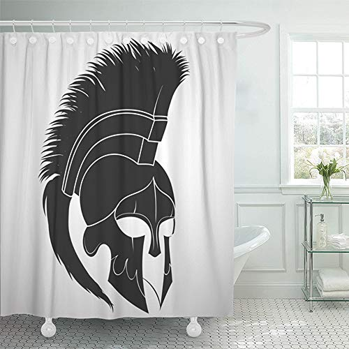 Emvency Shower Curtain 72x72 Inch Home Decor Spartan Helmet Silhouette Greek Warrior Gladiator Legionnaire Heroic Soldier Shower Hooks Set are Included